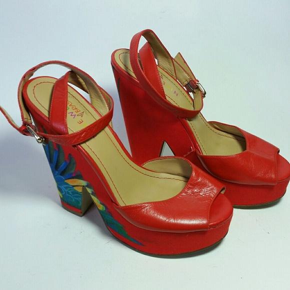nine west red wedge sandals